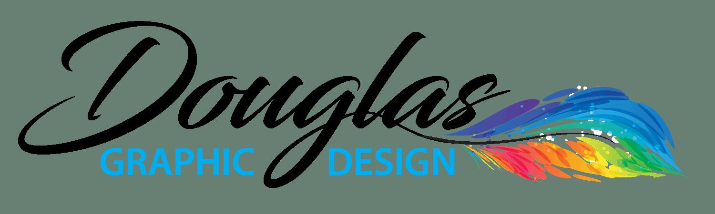 Douglas Graphic Design Logo with rainbow feather mark.
