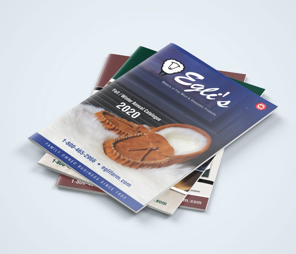A set of three brochures from Egli's, featuring a pair of sheepskin moccasins on the front cover.